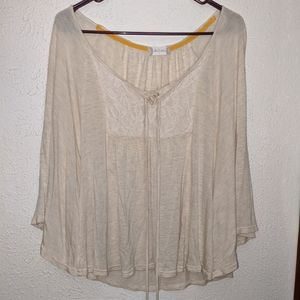 Altar'd State Oversized Boho Poncho Tie Blouse